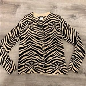 JCrew. Zebra cardigan. Size small